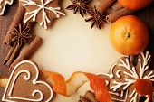pic of christmas spices  - Blank note for recipes of christmas cookies or christmas greeting card - JPG