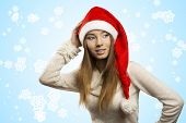 Pretty Girl With Red Christmas Hat
