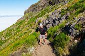 Pico Ruivo and Pico do Areeiro mountain peaks in  Madeira, Portugal