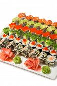 Roll Philadelphia. Unagi roll Uramaki. Roll with flying fish roe. Roll with av�?��?�¾kado and