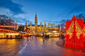 stock photo of weihnachten  - Traditional christmas market in Vienna - JPG