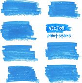 image of dab  - Vector spot of paint drawn by blue felt pen - JPG