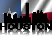 picture of texans  - Houston skyline and text reflected with rippled Texan flag illustration - JPG