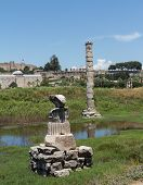 stock photo of artemis  - Remains of Temple of Artemis one of the seven wonders of the world in ruins of the old city of Ephesus which was a famous Ancient Greek city now in Turkey - JPG