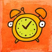 Cartoon Alarm Clock. Cute Hand Drawn Vector illustration, Vintage Paper Texture Background