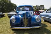 1940 Blue Ford Deluxe Car Front View