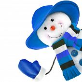 stock photo of ball cap  - happy snowman with blue hat isolated on white background  - JPG