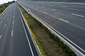 Empty 8-lane Highway