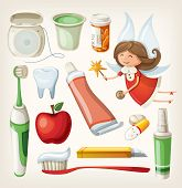 Set of items for keeping your teeth healthy