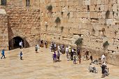 JERUSALEM - AUGUST 21: Prayers at Western Wall (aka Wailing Wall) - most important religious site in
