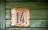Vintage Wooden Wall With Grunge House Number