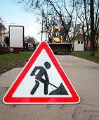 Roadworks Sign On The Asphalt Urban Lane