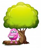 Illustration of an injured pink beanie monster standing under the giant tree on a white background