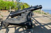Old Cannons Near The Temple-beacon In Malorechenskoye. Crimea.