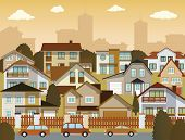 foto of suburban city  - Vector illustration of city  - JPG
