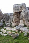 stock photo of megaliths  - Detail of the Megalithic temple of Hagrat in Mgarr Maltese Islands - JPG