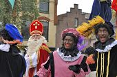 Sinterklaas Arriving On His Steamboat With His Black Helpers (zwarte Pieten)
