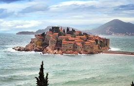 image of former yugoslavia  - The historic island of Sveti Stefan in Montenegro - JPG
