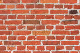image of mortar-joint  - Decorative wall made of red bricks with mortar joints - JPG