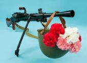 Machinegun And Flowers