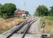 pic of railroad yard  - Railway station yard in the rural of Thailand - JPG