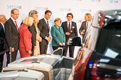 HANOVER, GERMANY - APRIL 7: German Chancellor Angela Merkel during a technology showcase tour of inn