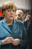 HANOVER, GERMANY - APRIL 7:  Chancellor Angela Merkel at Hannover Messe. April 7, 2014. The Hannover
