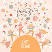 Group of kids playing. Six funny kids in cartoon style. Bright childish holiday card in vector. Cute kids jumping and having fun. Happy birthday background