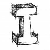 Sketchy Hand Drawn Letter I Isolated On White