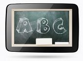 Blackboard Inside Computer Tablet With Abc Sketchy Chalk Text