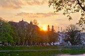 picture of zakarpattia  - sunrise above catholic church in Uzhhorod - JPG