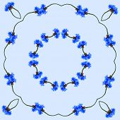 Floral Frame Abstract Pattern of Cornflower on blue  background with copy space