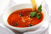 picture of stew  - Dish of Stewed Meat Soup with Olives and Lemon - JPG