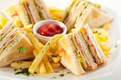 stock photo of smoked ham  - Club Sandwich with Cheese - JPG