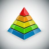 Pyramid with color segments vector design element.