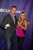 LAS VEGAS - APR 8:  Matt Iseman, Jenn Brown at the NBCUniversal Summer Press Day at Huntington Langh