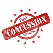 Red Weathered Post Concussion Syndrome Stamp Design