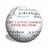 Post Concussion Syndrome 3D Sphere Word Cloud Concept
