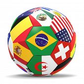 picture of japanese flag  - 3D render of football with international flags surrounding the Brazilian flag with drop shadow - JPG