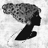 art sketched beautiful girl face with curly hair and bijou in profile, in black graphic on white background