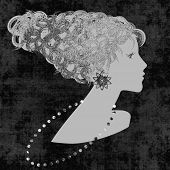art sketched beautiful girl face with curly hair and bijou in profile, in graphic on black background