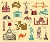foto of parthenon  - Icons of sights of the various countries of the world in retrostyle - JPG