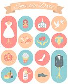 Wedding Icons Round Set