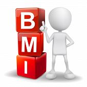 3D Illustration Of Person With Word Bmi Cubes