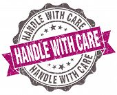 Handle With Care Violet Grunge Retro Vintage Isolated Seal