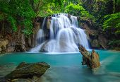 picture of cataracts  - Deep forest Waterfall in Kanchanaburi province Thailand - JPG