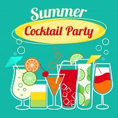 stock photo of cocktail menu  - Summer cocktails party banner invitation flyer card template vector illustration - JPG