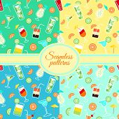 Collection of seamless patterns with cocktail drinks