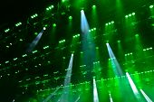 pic of soffit  - Illuminated empty concert stage with smoke and rays of light - JPG