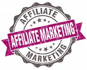 Affiliate Marketing Violet Grunge Retro Style Isolated Seal